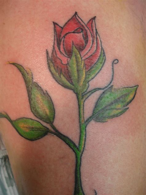 rose tattoo with stem poses and roses picture