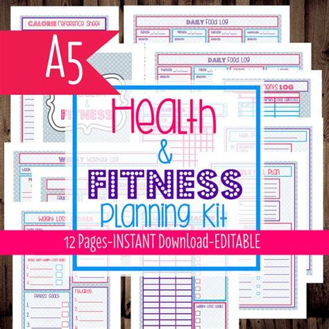 printable a5 planner inserts fitness inserts printable a5 inserts half letter size
