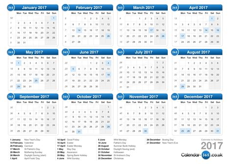 printable yearly calendar 2017 uk calendar 2017