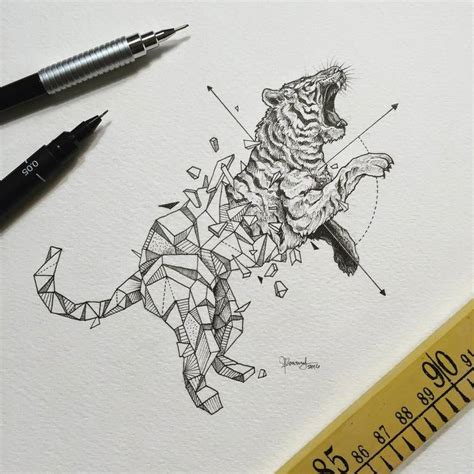 geometric tiger tattoo abstract geometric animal illustrations by kerby rosanes