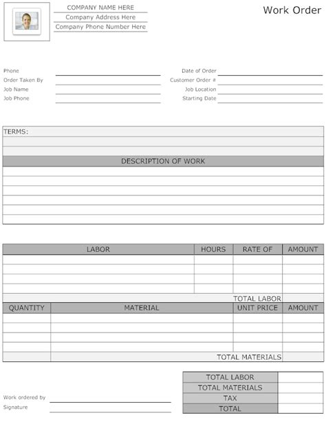 exle image maintenance work order form work