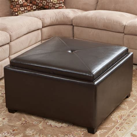 Silvio Tray Top Bonded Leather Storage Ottoman 187 Video Gallery Leather Tray Top Storage Ottoman