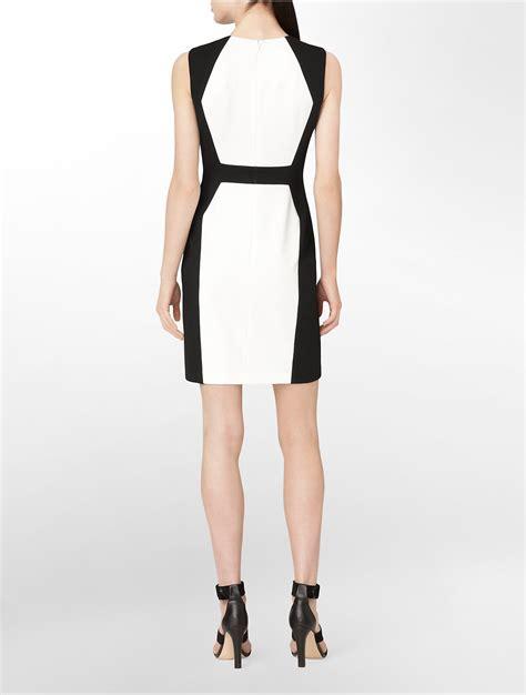 Colorblock Sleveless Top 1 calvin klein white label colorblock sleeveless sheath dress in white lyst