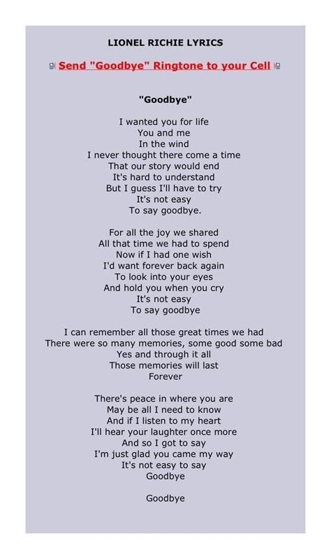 missing testo goodbye lionel richie this is what my would sing