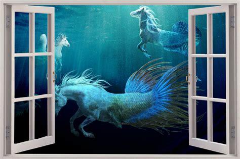 huge 3d window fantasy horse mermaid under sea view wall