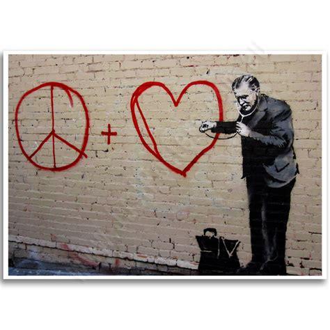 peace  love doctor banksy street art poster