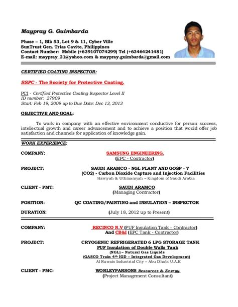 Latest Resume Sample In Pdf by Resume Of Qaqc Inspector Coating Painting And Insulation