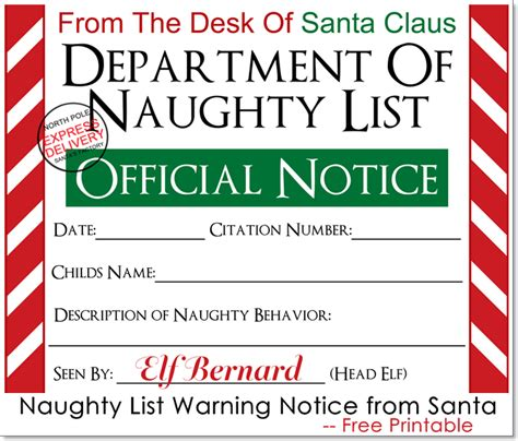 elf on the shelf warning letter from santa printable naughty list warning notice from santa free printable