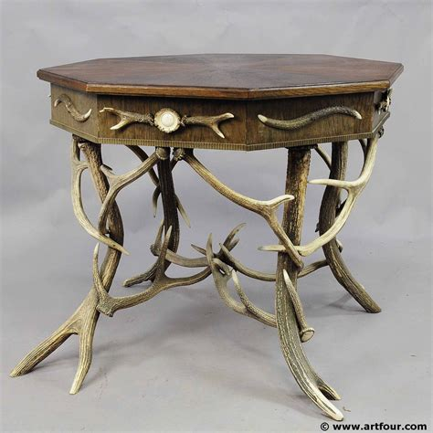 Antler Table by Antique Octagonal Antler Table With Genuine Antlers
