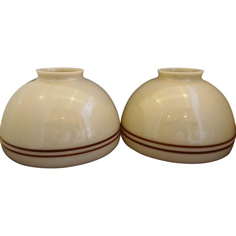 brown glass l shade beige brown stripe glass student l shade pair from