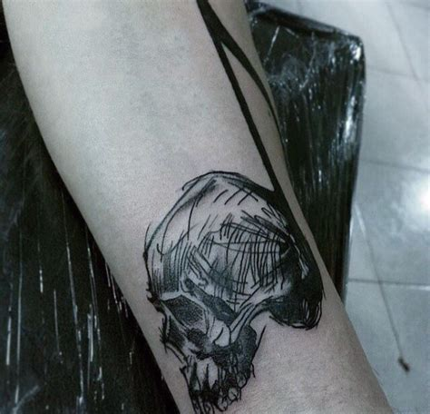 easy homemade tattoo ink simple homemade like black ink skull with note tattoo on