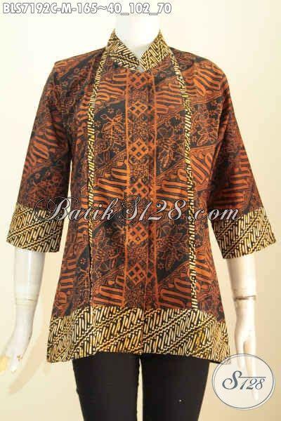 Blus Batik Elegan 263 Cap baju blus motif klasik batik cap busana batik elegan desain keren kerah shanghai plisir kancing