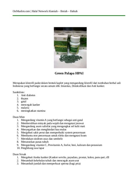 Hpai N Green Klorofil khasiat green palapa hpai