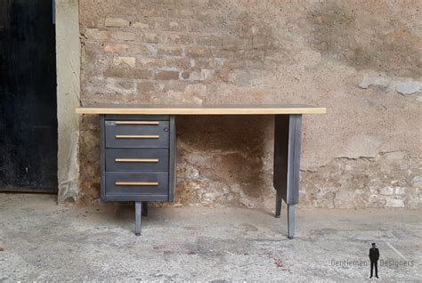 bureau metal gris bureau vintage style industriel gris anthracite tiroirs