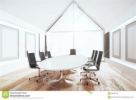white conference room table modern conference room with white table and black chairs