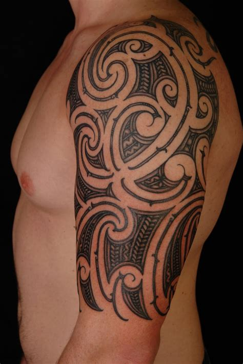 hawaiian quarter sleeve tattoo hawaiian tribal tattoo on left half sleeve