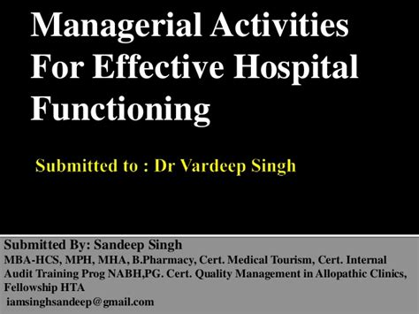 Mba Mph Mh by Managerial Activities For Effective Hospital Functioning