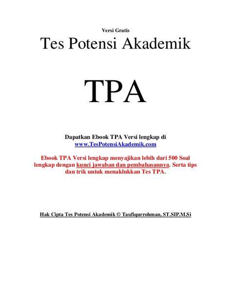 Taklukan Tpa Tes Potensi Akademik tes potensi akademik tpa gratis