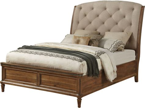 upholstered sleigh bed queen distressed blonde queen upholstered sleigh bed from avalon furniture