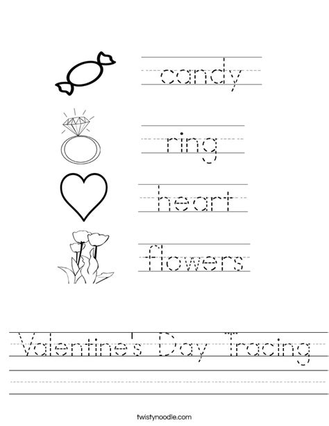 valentines day worksheets s day tracing worksheet twisty noodle