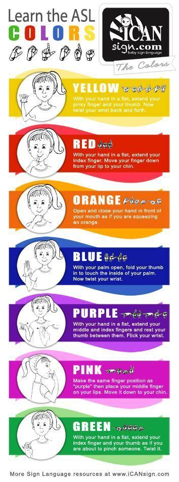 sign for color asl colors chart yellow orange blue purple pink