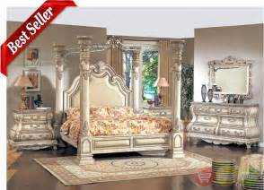 Vintage King Size Bedroom Sets Antique White Finish Wood King Size Poster Bed Canopy