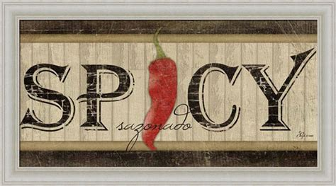 spicy sazonado chili pepper vintage sign framed print
