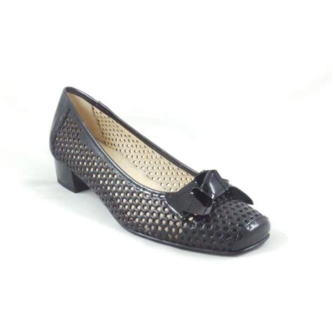 suave black leather and patent court shoe suave from