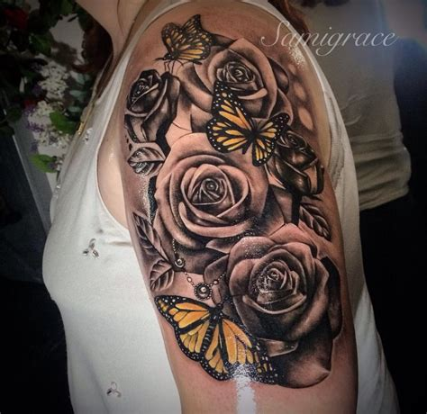 half butterfly tattoo designs roses and butterfly s my ideas