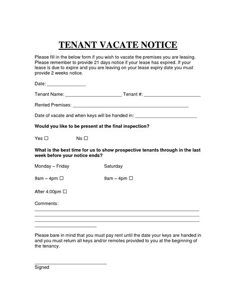 Printable Sle Vacate Notice Form Legal Template Pinterest Real Estate Forms Template Of Notice To Vacate Rental Property