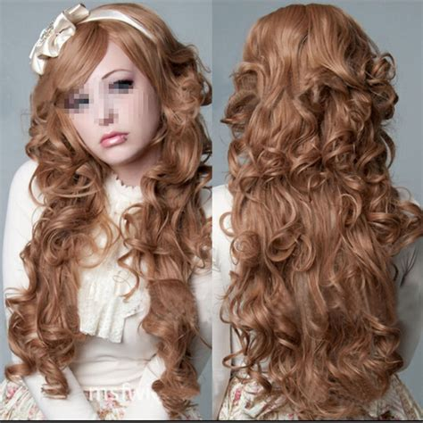 cut curly hair on long island miss 00272 brown womens curly long hair costume cosplay