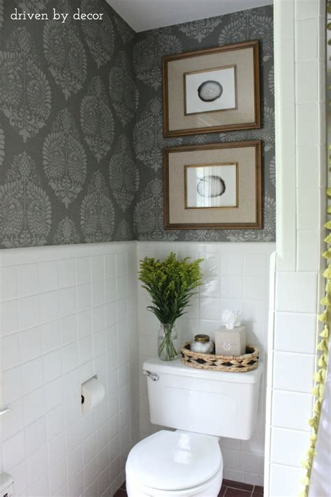 Toilet Decor by Our Stenciled Bathroom Budget Makeover Reveal Driven By