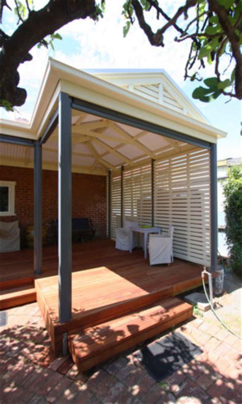 shaped gable pergola  privacy screening decking