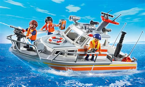 toy coast guard boat playmobil coast guard rescue boat with water hose