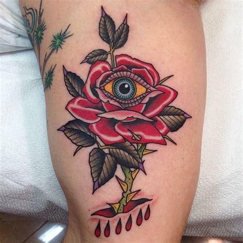 tattoo eye new school new school flower eye rose thigh tattoo by marc nava
