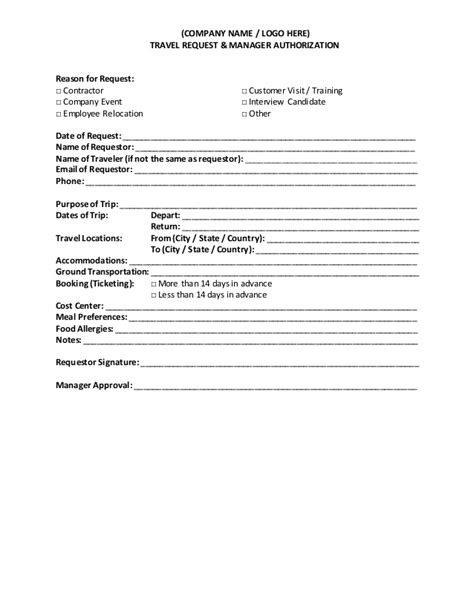 request letter to company for visit travel request and authorization form