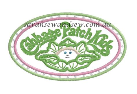 design embroidery patch cabbage patch kids logo embroidery design