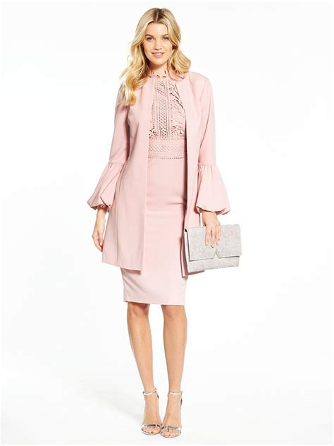 V Sleeve v by fluted sleeve jacket and lace top dress suit