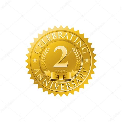 2nd anniversary golden badge logo stock vector