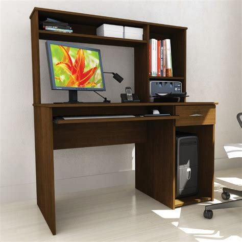 workspace computer desk with keyboard tray and hutch