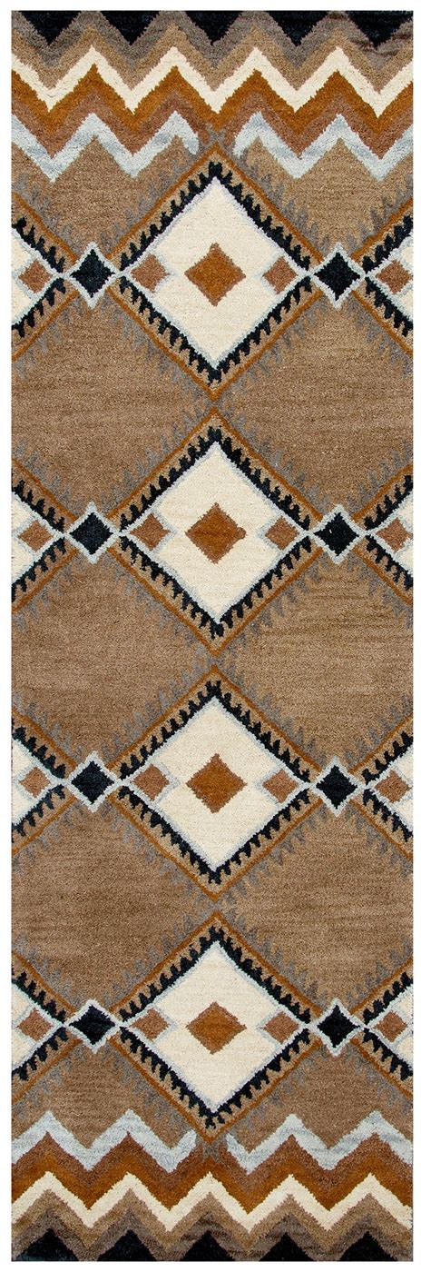 indian print rugs tumble loft indian print wool runner rug in blue camel white 2 6 quot x 8 ebay