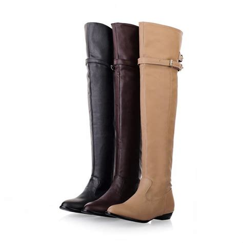 high motorcycle boots plus size 34 45 2015 the knee high boots