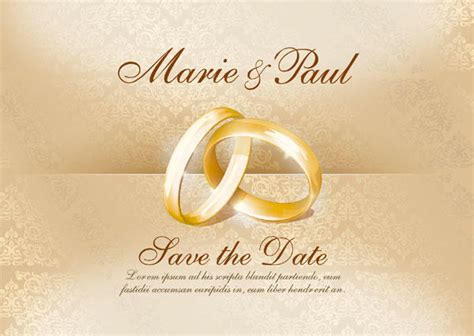 ring ceremony invitation card template free wedding invitation card with gold rings vector image