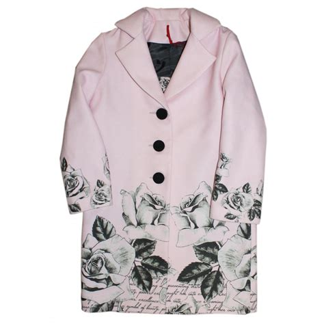 pink pattern coat love made love pink black rose pattern coat
