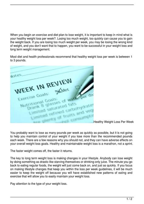 1 weight loss per week healthy weight loss per week by plastic surgery issuu