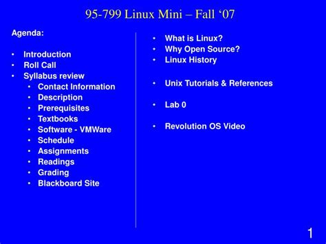 linux tutorial powerpoint presentation ppt 95 799 linux mini fall 07 powerpoint presentation