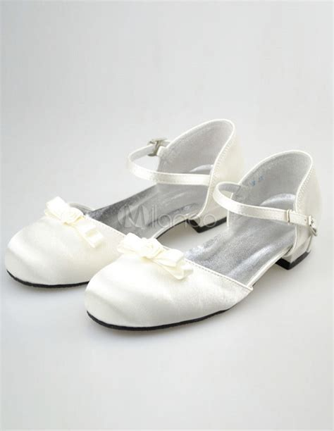 ivory satin flower shoes ivory satin bow flower shoes milanoo