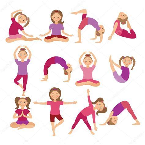imagenes yoga animadas ilustraci 243 n de vector de ni 241 os yoga poses ni 241 o haciendo