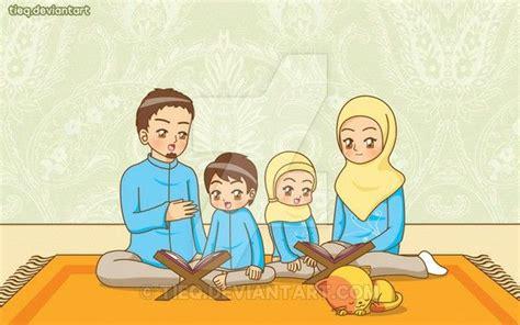 reading quran kartun gambar  pasangan