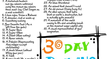 100 day drawing challenge artist writer designer animator and foodie 30